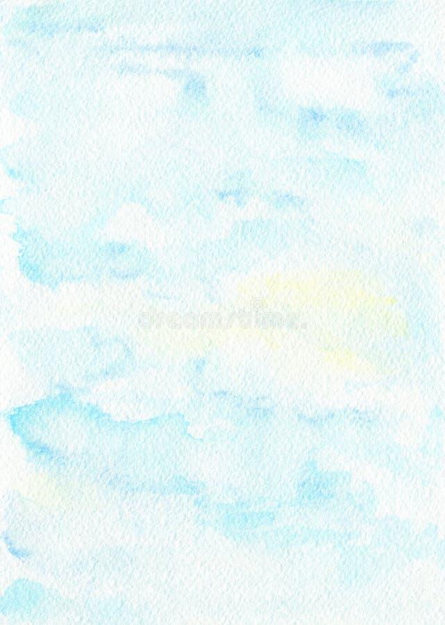Blå solig himmel för vattenfärg på papperstextur royaltyfri illustrationer