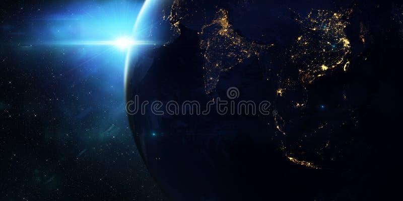 Blå soluppgång, sikt av jord från utrymme vektor illustrationer