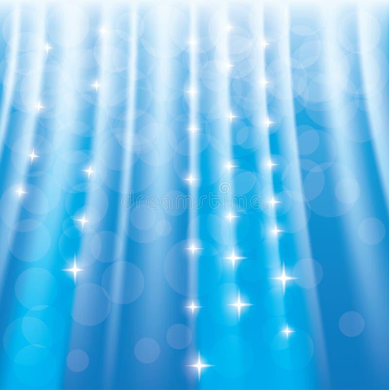 Blå sparklebakgrund med stjärnor och strålar vektor illustrationer