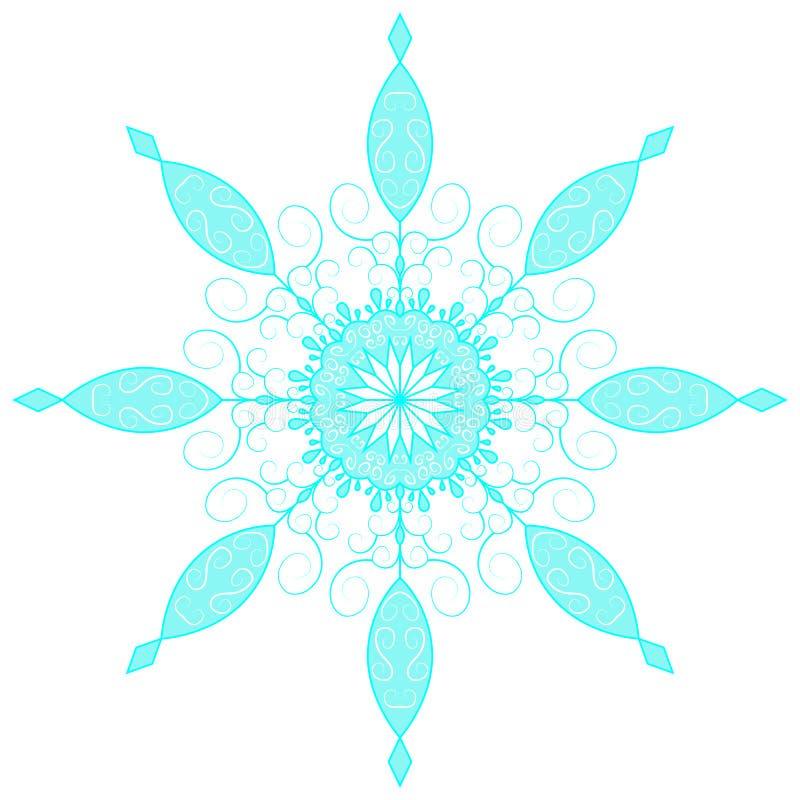 Blå spets- snöflinga också vektor för coreldrawillustration royaltyfri illustrationer