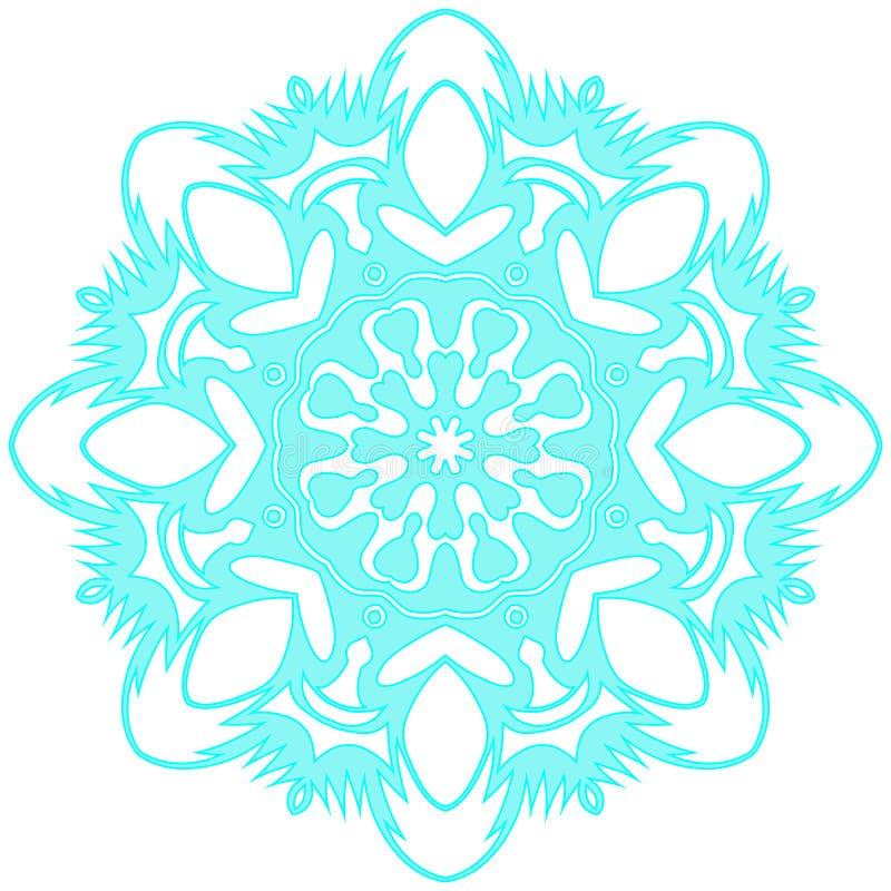 Blå spets- snöflinga också vektor för coreldrawillustration royaltyfria bilder