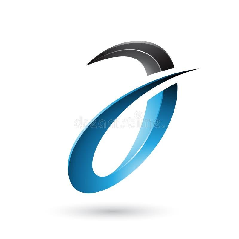 Blå spetsig och glansig bokstav A som isoleras på en vit bakgrund stock illustrationer