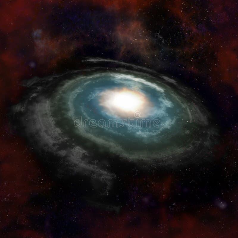 Blå spiral galax mot svart avstånd royaltyfri illustrationer