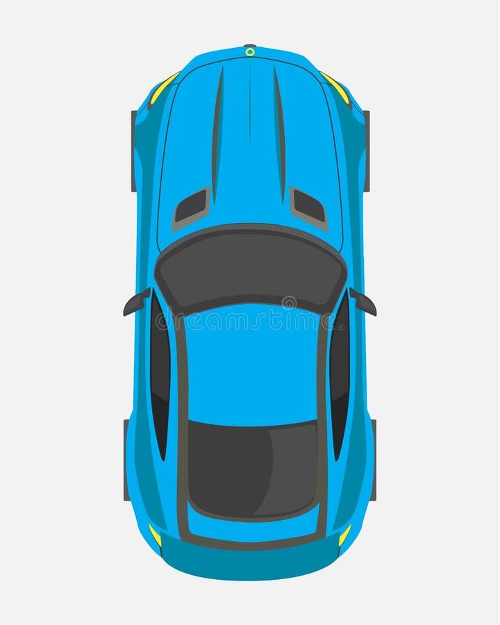 Blå sportbil, bästa sikt i plan stil som isoleras på en vit bakgrund vektor illustrationer