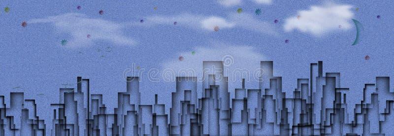 blå stad stock illustrationer
