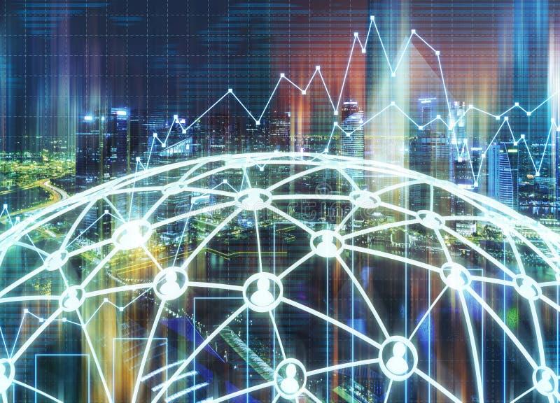 Blå stad och grönt nätverk, grafer royaltyfria foton