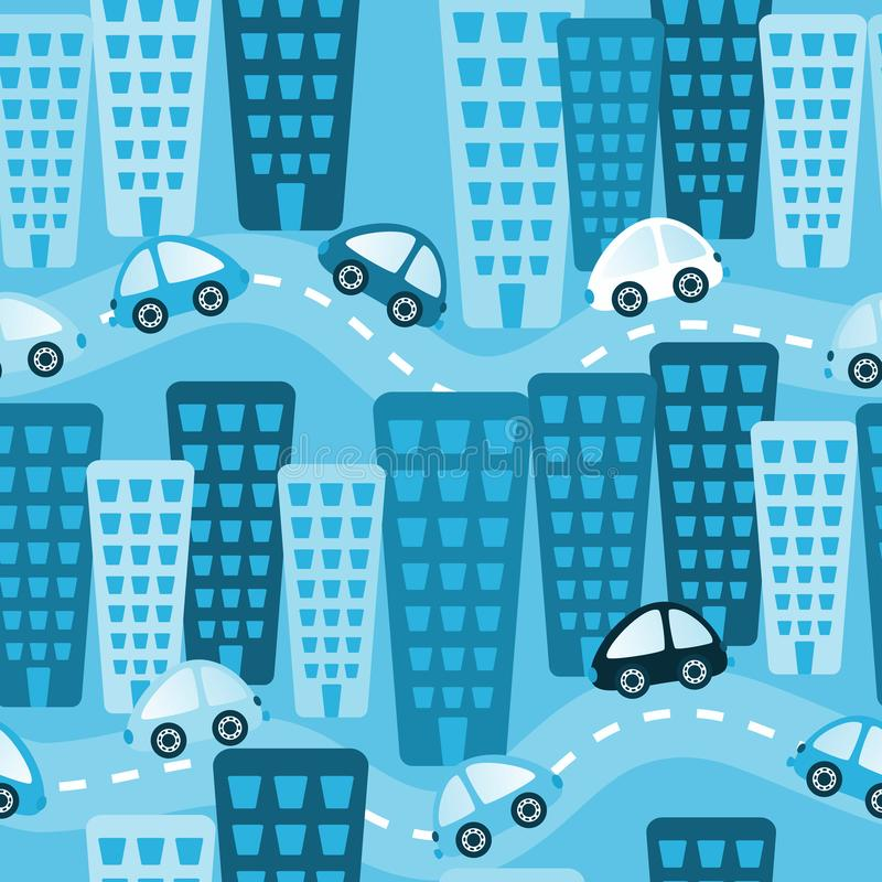 Blå stad Toy Cars Seamless Background vektor illustrationer