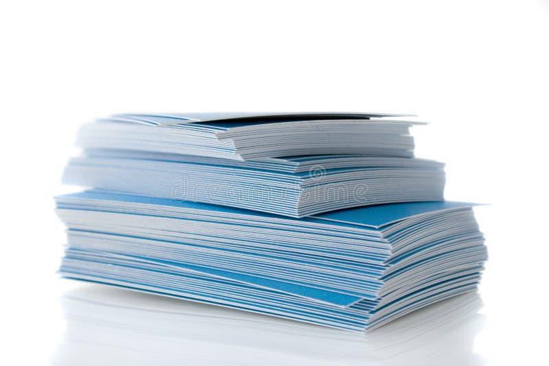 blå stapel för affärskort royaltyfria foton