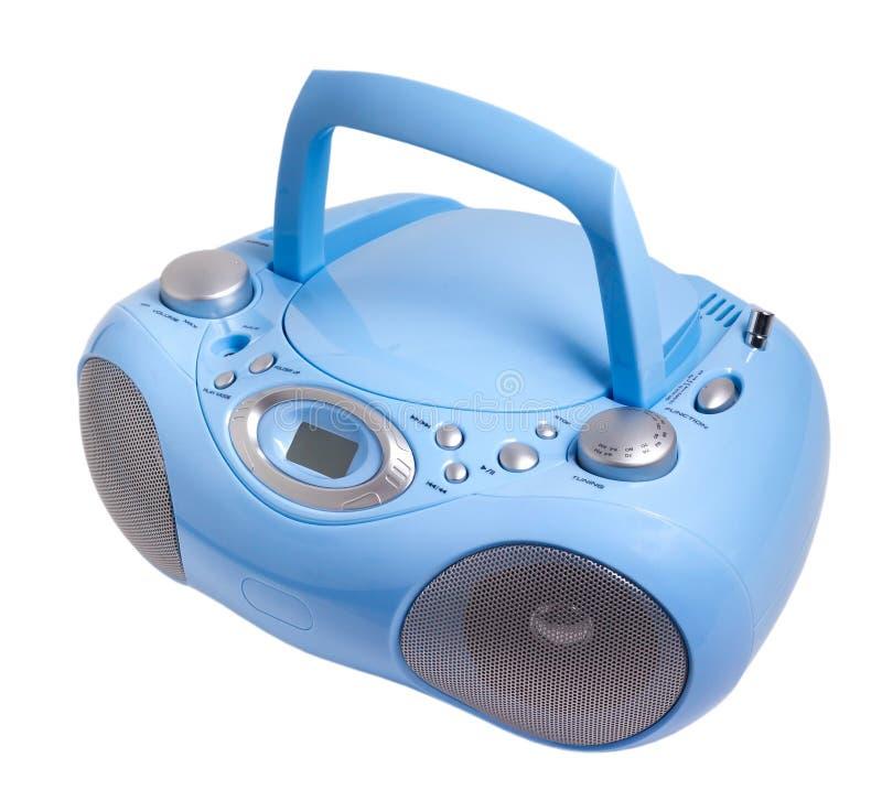 Blå stereo- registreringsapparat för kassett för CDmp3-radio royaltyfri bild