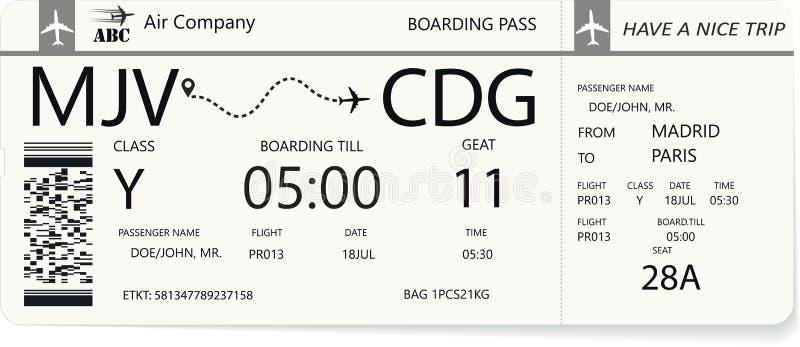 Blå stiga ombord passerande eller flygplanbiljett royaltyfri illustrationer
