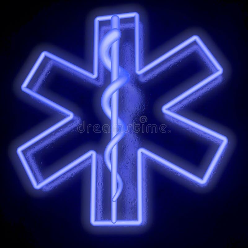 Blå stjärna för neonrör av liv, från nedersta rätt stock illustrationer