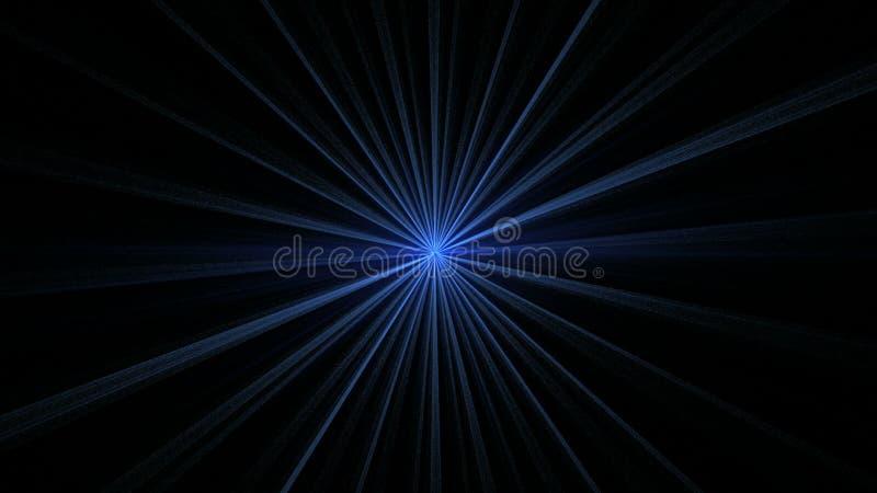 Blå stjärna som skiner på svart vektor illustrationer