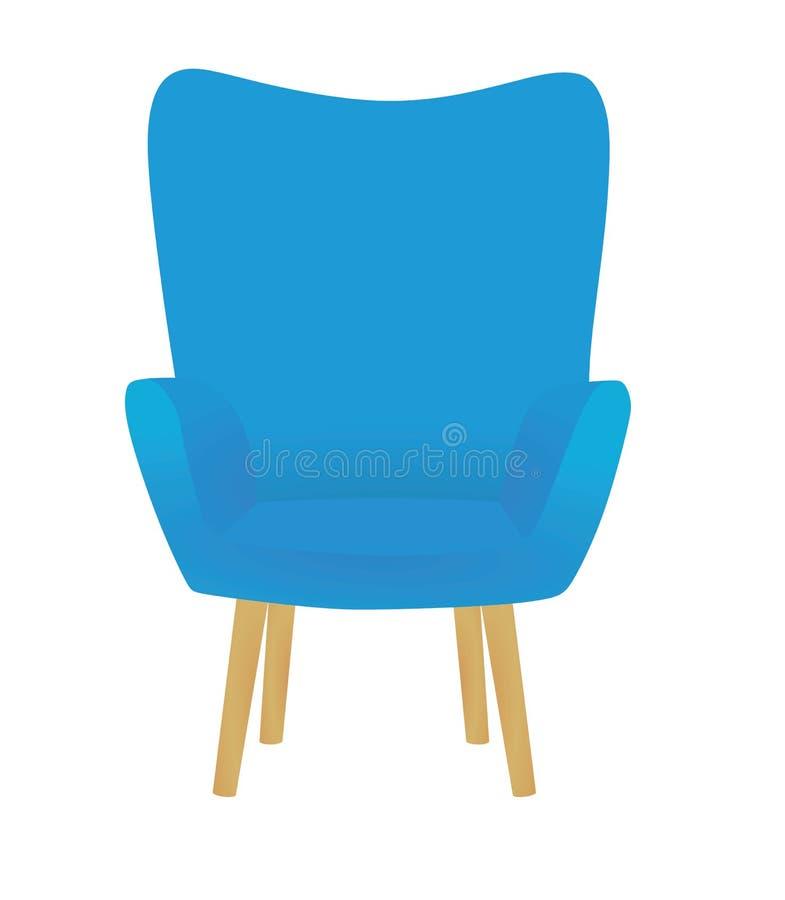 Blå stol på vit bakgrund vektor illustrationer