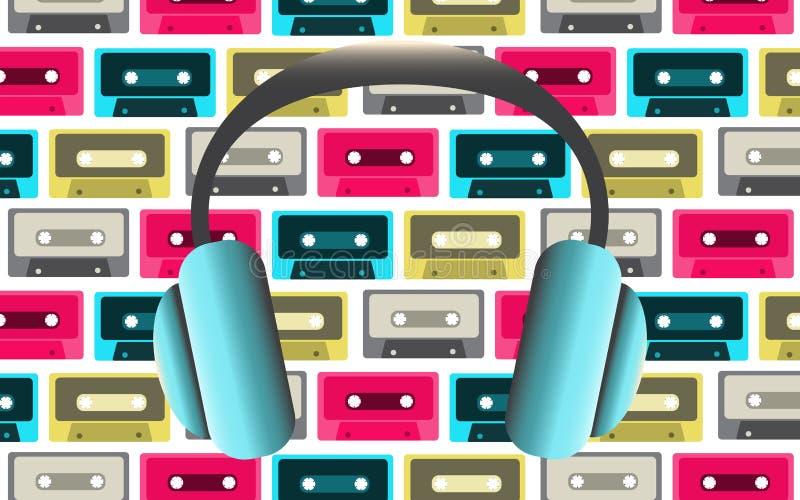 Blå stor trendig normalformat hörlurar för att lyssna till musik på bakgrunden av gamla retro tappninghipsterljudkassetter f vektor illustrationer