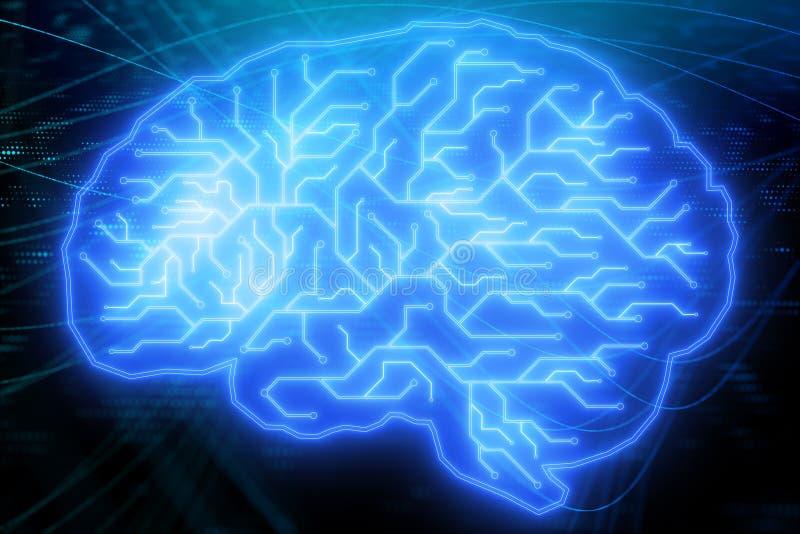 Blå strömkretshjärnbakgrund vektor illustrationer