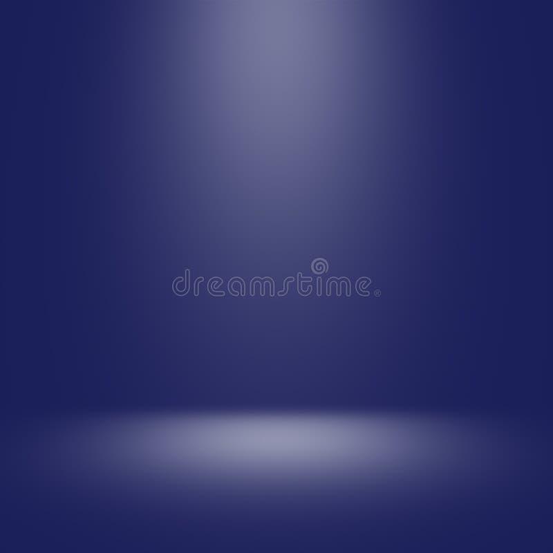 Blå studiobakgrund med strålkastaren royaltyfri bild