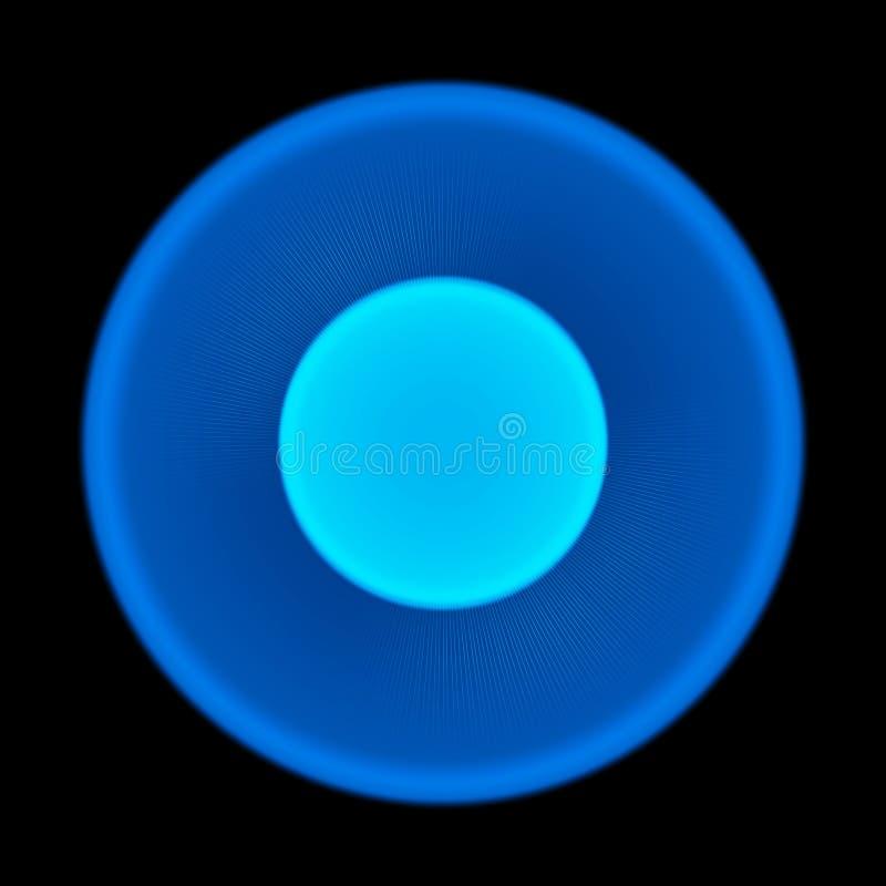 Blå suddig glödande cirkel på svart bakgrund sun solljus Abstrakt illustration för Sunburst med skinande ljus Suddighetsneoneffek stock illustrationer