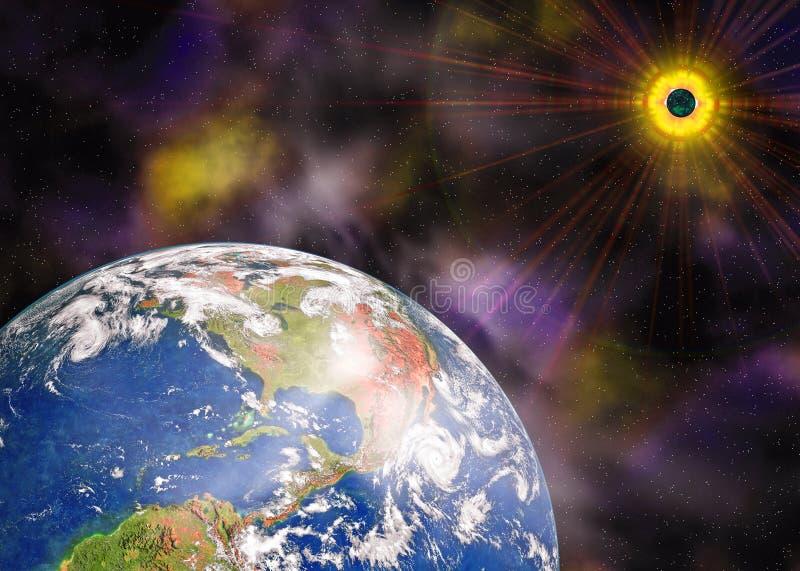 blå sun för jordplanetavstånd royaltyfri illustrationer