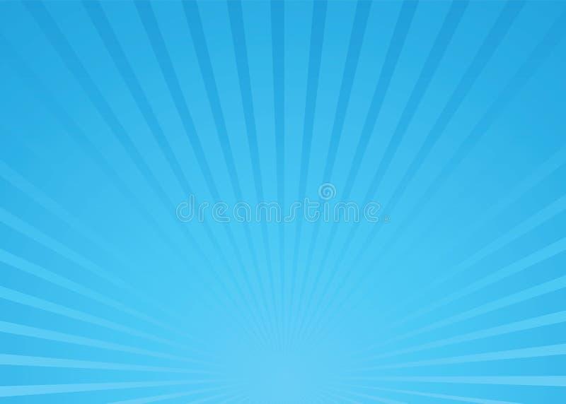 blå sunburstvektor stock illustrationer