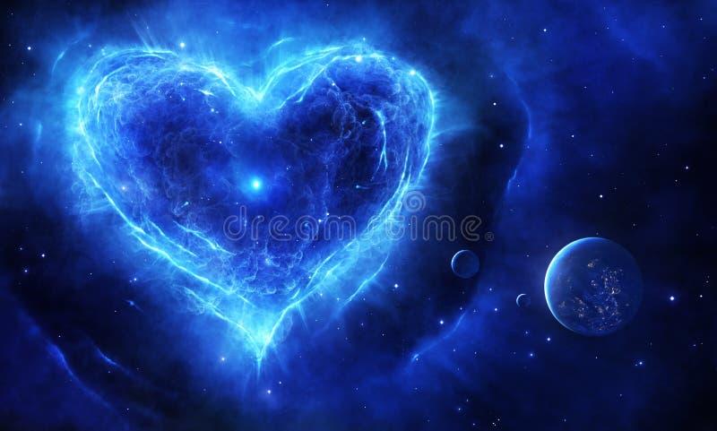 Blå supernovahjärta vektor illustrationer