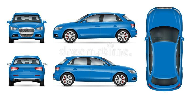 Blå SUV bilåtlöje upp stock illustrationer