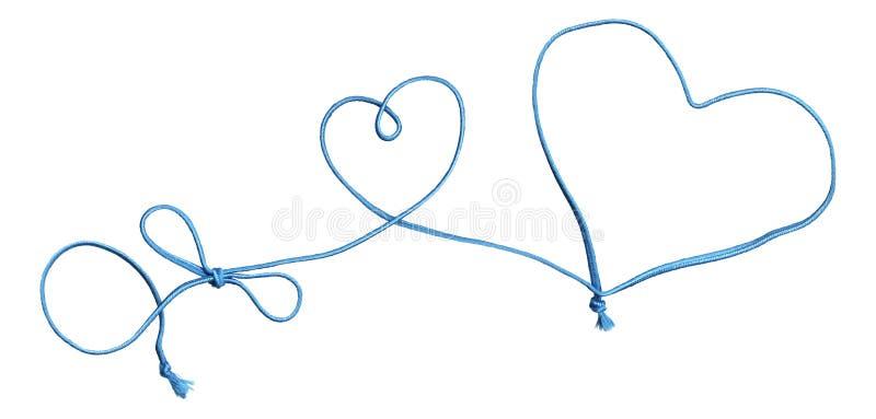blå swirl för bowhjärtarep stock illustrationer