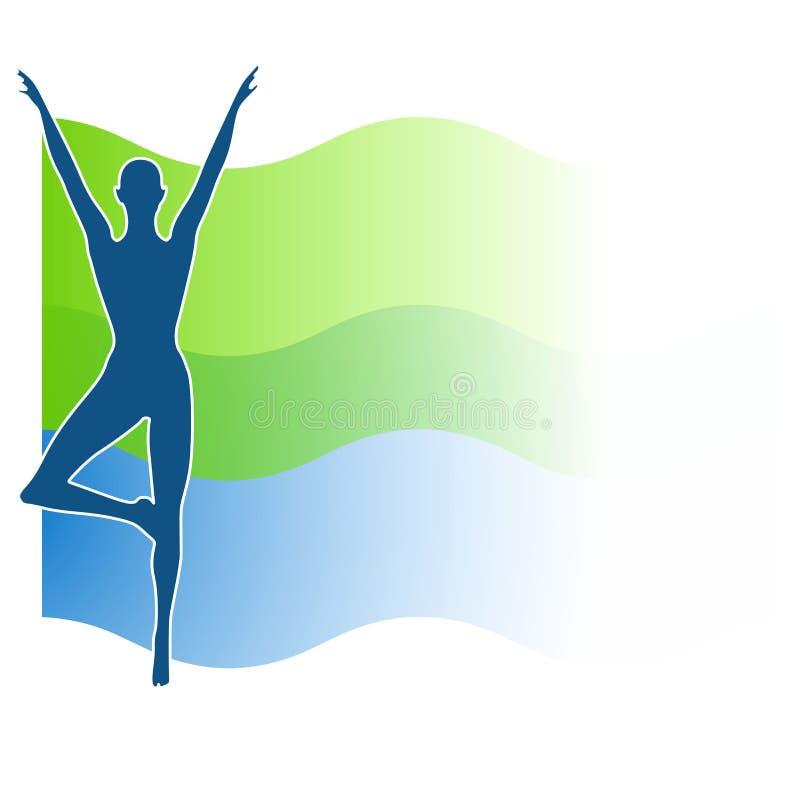 blå swoosh för konditiongreensilhouette royaltyfri illustrationer