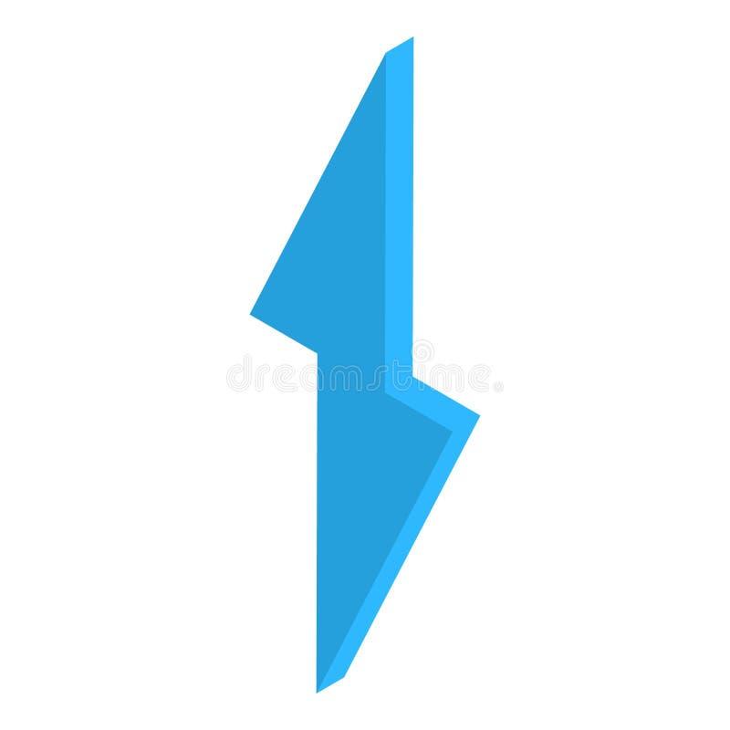 Blå symbol för blixtbult, isometrisk stil vektor illustrationer