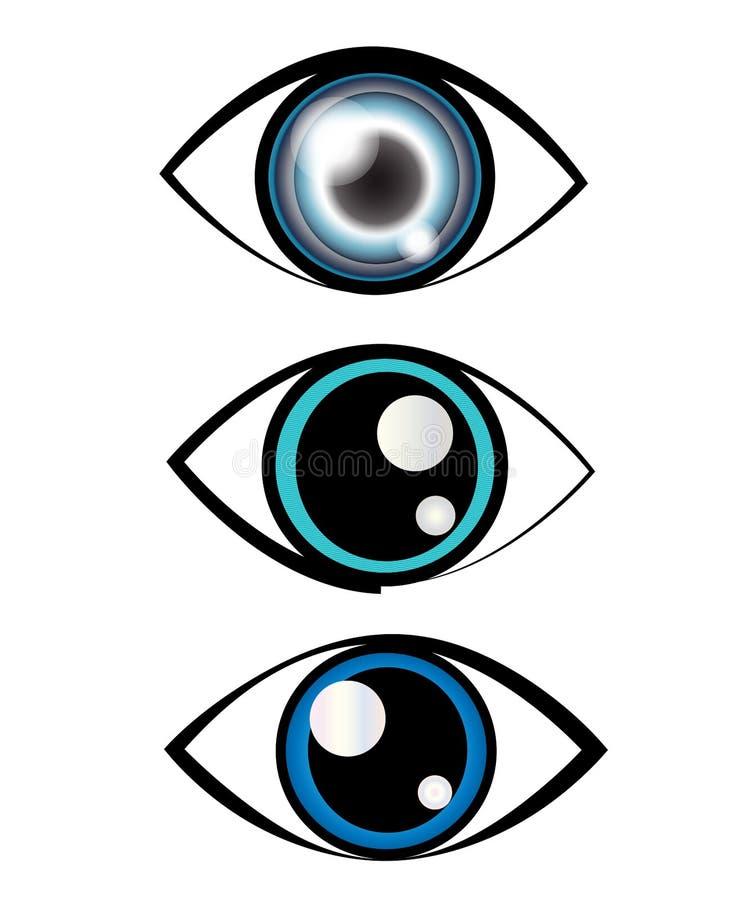 Blå symbol för grönt öga stock illustrationer
