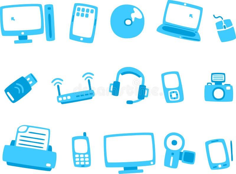 Blå symbolsserie 1 för teknologi royaltyfri illustrationer