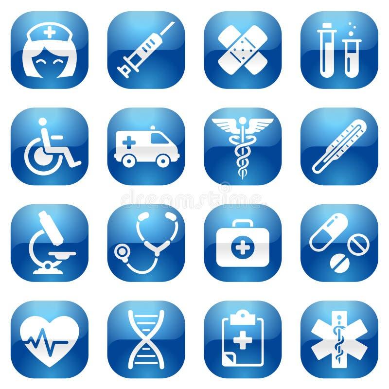 Blå symbolsuppsättning för sjukvård vektor illustrationer