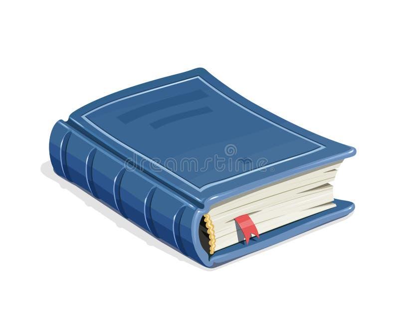 Blå tappningbok med bokmärken stock illustrationer