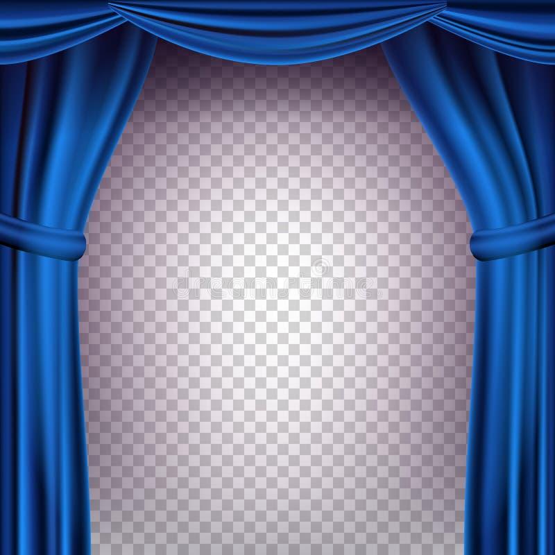 Blå teatergardinvektor genomskinlig bakgrund Baner för konserten, parti, teater, dansmall realistiskt stock illustrationer