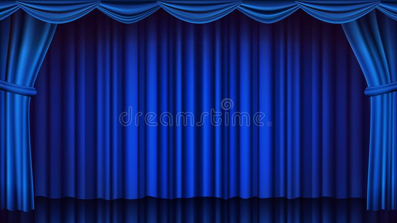 Blå teatergardinvektor Stängd plats för teater, för opera eller för bio Realistisk blått draperar illustrationen vektor illustrationer