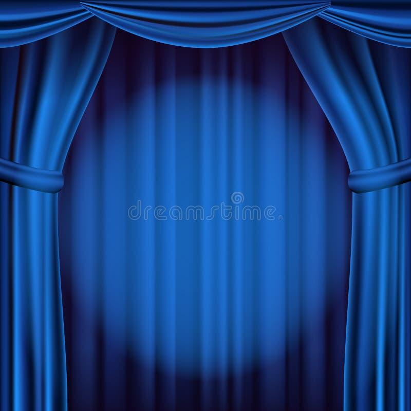 Blå teatergardinvektor Teater-, opera- eller bioplats realistisk ballonsillustration stock illustrationer