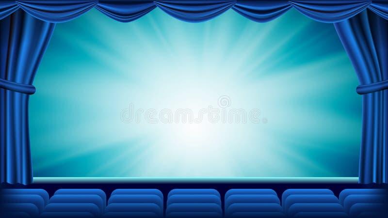 Blå teatergardinvektor Tom siden- etapp för teater, för opera eller för bio, röd plats background card congratulation invitation  royaltyfri illustrationer