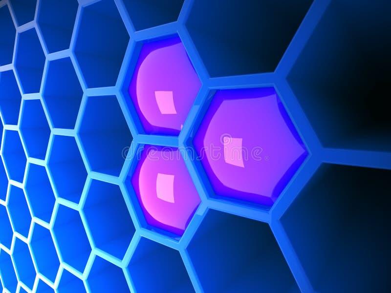 blå tech för honungskaka 3d royaltyfri illustrationer