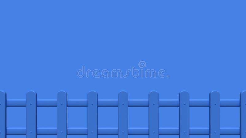 blå tecknad filmstil 3d för staket 3d att framföra minsta tomt utrymme royaltyfri illustrationer