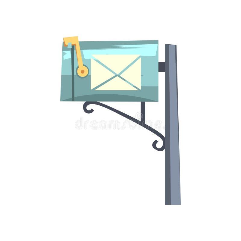 Blå tecknad filmstilbrevlåda på grå pol Färgrik symbol av den metalliska stolpeasken för bokstäver och tidningar Slapp fokus plan royaltyfri illustrationer