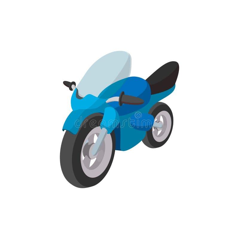 Blå tecknad filmsymbol för motorcykel vektor illustrationer