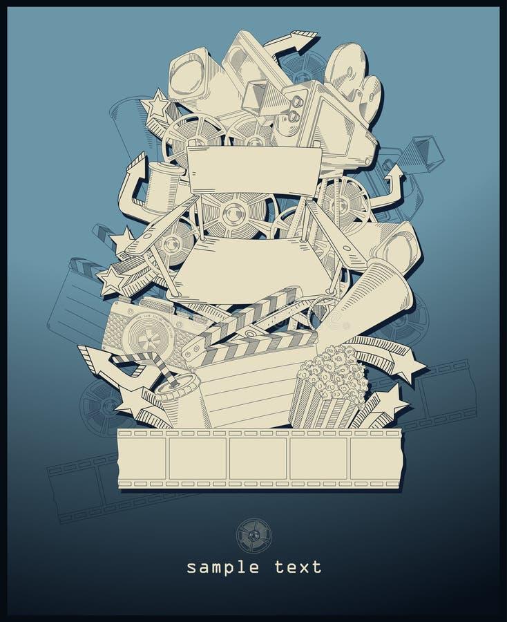 blå teckningslinje filmtemavektor vektor illustrationer