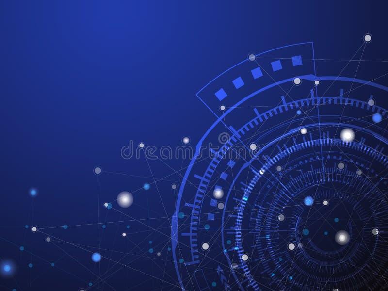 Blå teknologicirkel och abstrakt bakgrund för datavetenskap med den blåa och vita linjen prick Aff?rs- och anslutningsbegrepp royaltyfri illustrationer