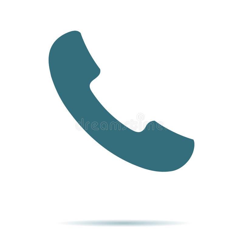 Blå telefonsymbol som isoleras på bakgrund Modern plan pictogram, affär, marknadsföring, internetbegrepp stock illustrationer