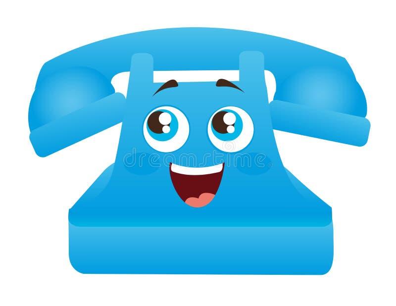 Blå telefontecknad film vektor illustrationer