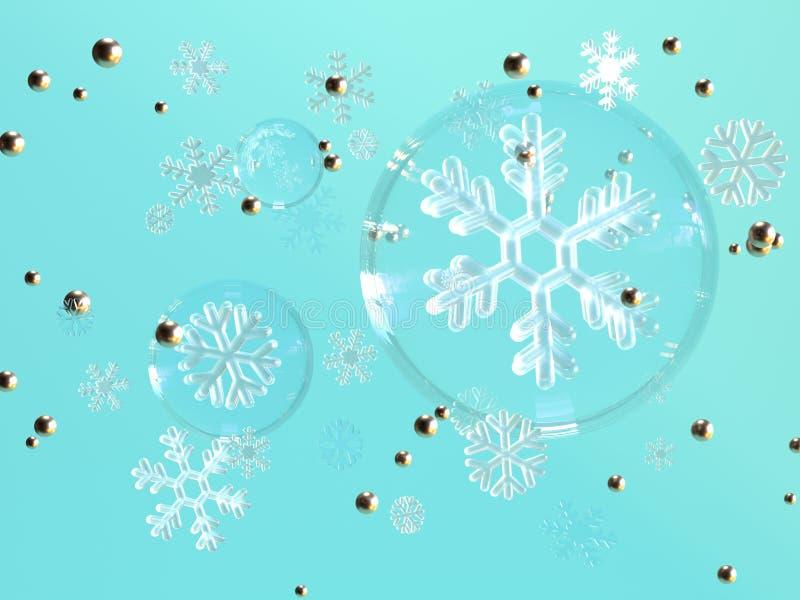 blå tolkning för svävning 3d för snöflinga för bakgrundsfrikändsfär royaltyfri illustrationer
