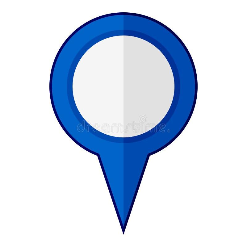 Blå tom GPS lägenhetsymbol som isoleras på vit royaltyfri illustrationer