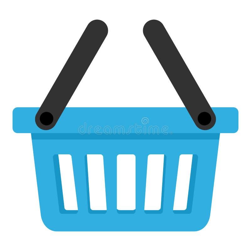 Blå tom korg med symbolen för två handtag vektor illustrationer