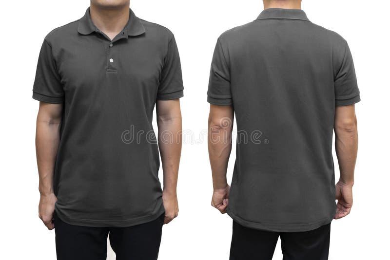 Blå tom poloskjorta på människokroppen för åtlöje för grafisk design upp royaltyfri bild