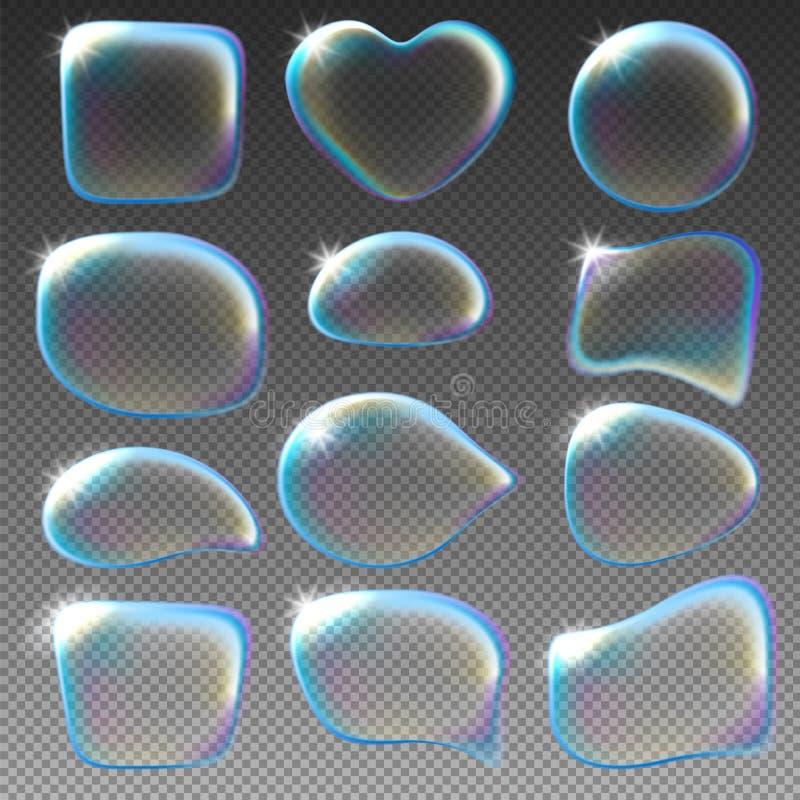 blå tonality för bubblatvålstruktur royaltyfri illustrationer