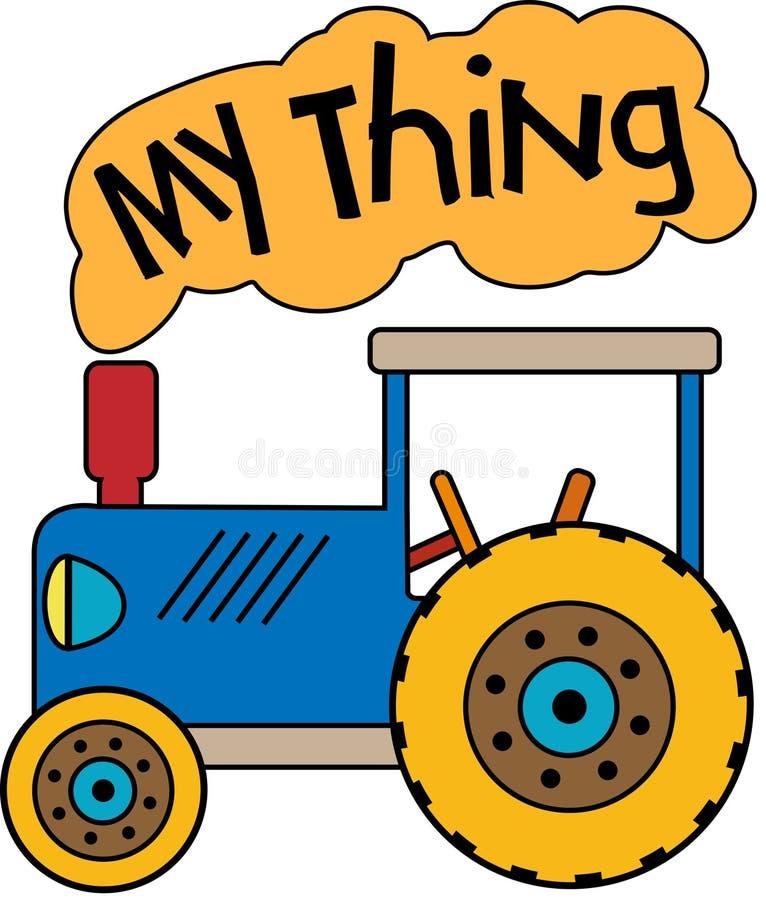 Blå traktor mitt ting stock illustrationer